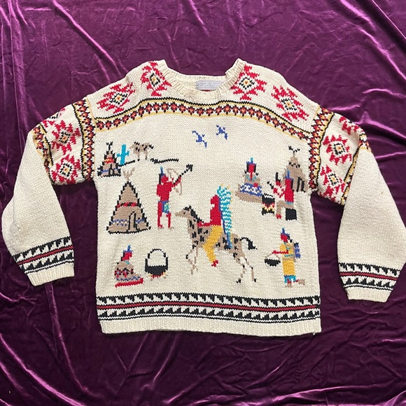 Price Firn VTG 90s Native American Aztec Sweater